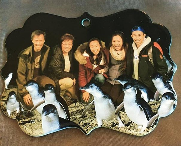 Ordered A Custom Family Photo Ornament. Received One With A Random Asian Family And Photoshopped Added Penguins. Not Even Mad