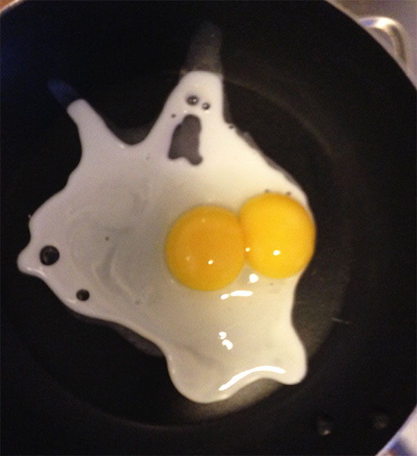The Egg I Cracked That Looks Like A Scared Ghost