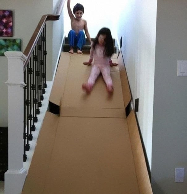 Use An Old Box To Make Them A Cardboard Slide