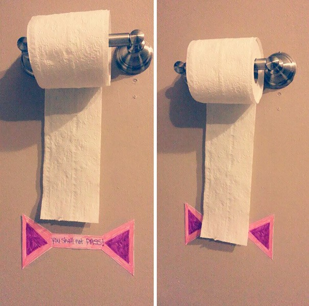 "Put A ""You Shall Not Pass"" Sign To Teach Your Kids How To Save Toilet Paper"