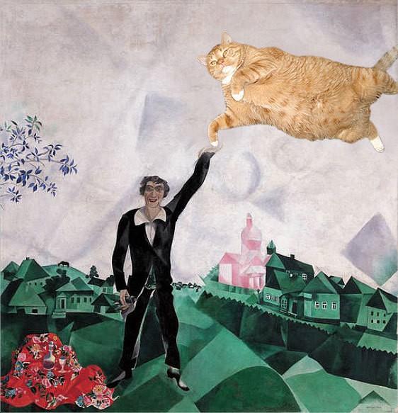 """<a href=""""http://fatcatart.ru/2011/02/about-walks/"""">Шагал, Влюбленные. Прогулка</a>"""