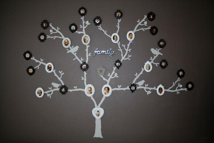 Это семейное дерево, которое я сделал на нашей стене.