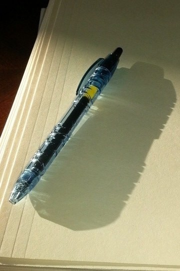 This pen made from a recycled water bottle, which has the shadow to match.