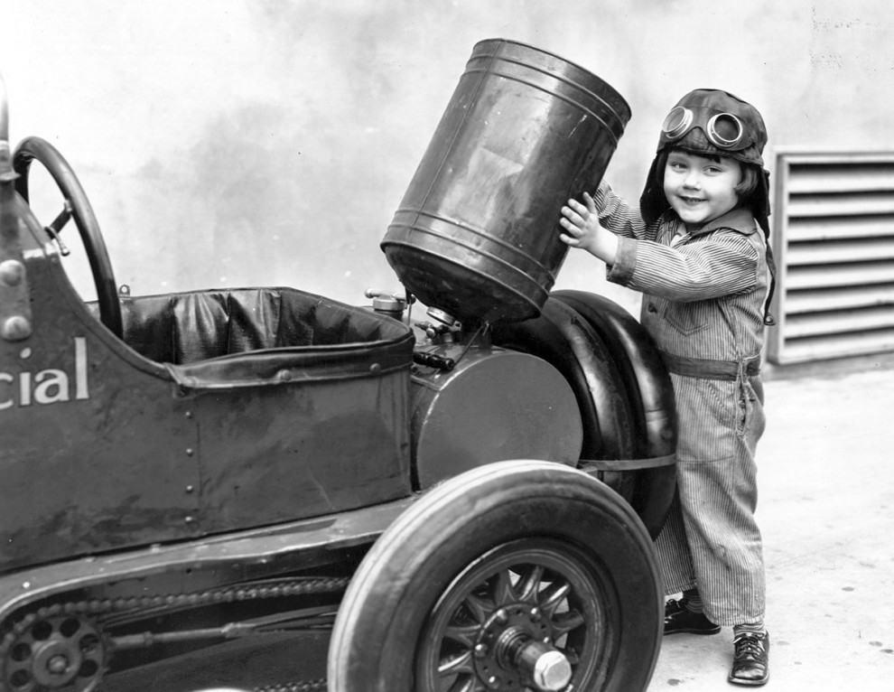 Gasoline-powered automobiles for children, circa 1930: