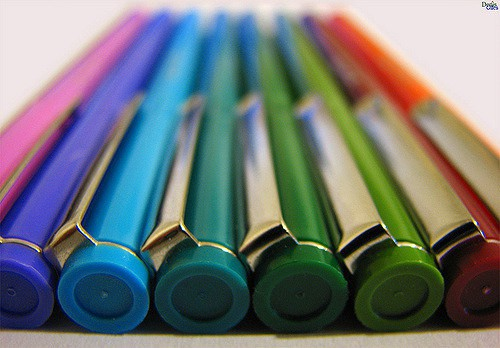 This close-up of pens.