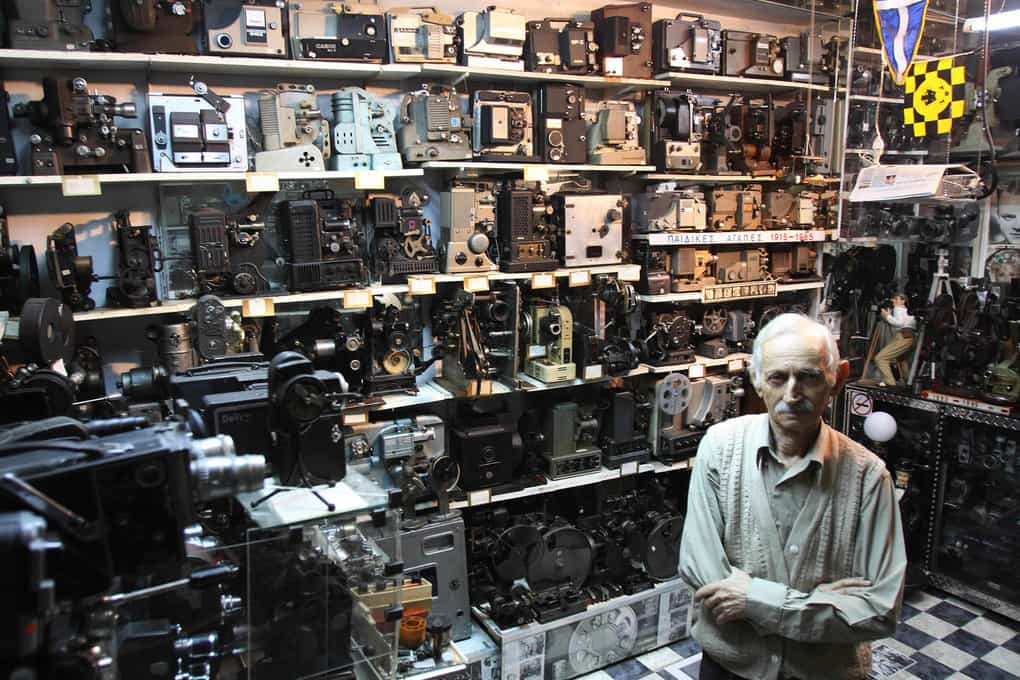 Camera collector Dimitris Pistiolas is seen at his museum in central Athens, Greece. Pistiolas owns the world
