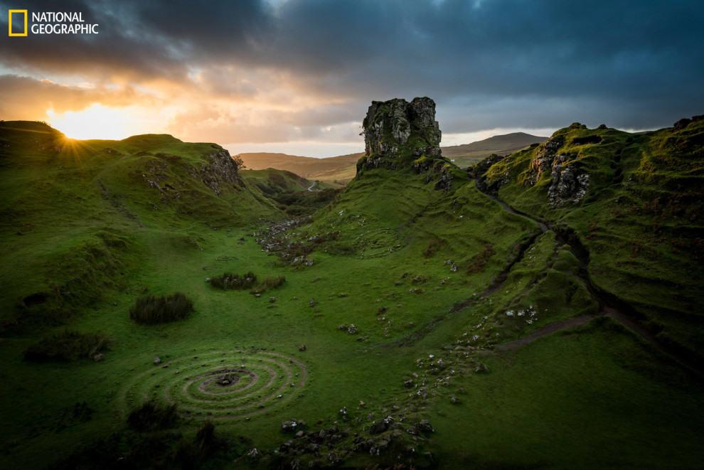 A surreal Celtic spiral in Scotland.