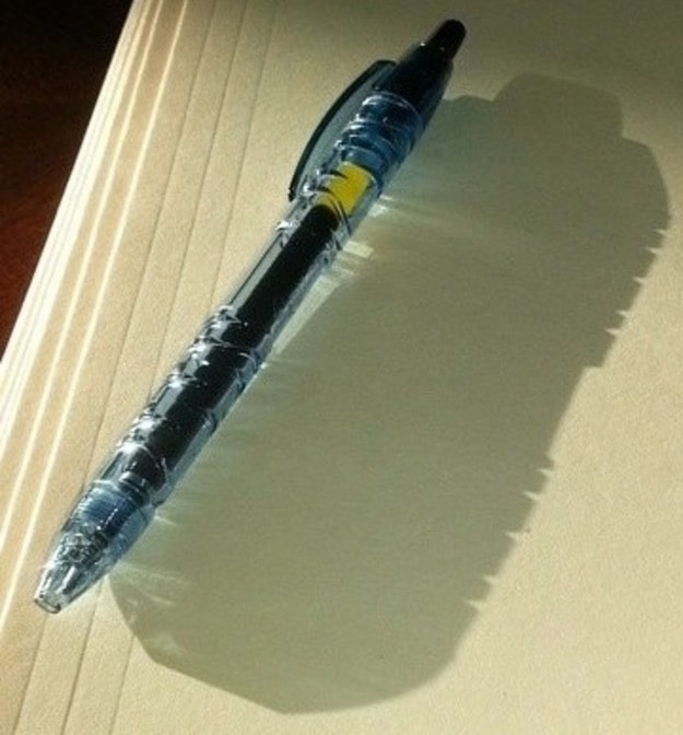 This pen made out of recycled water bottles — whose shadow looks like an actual water bottle!!!