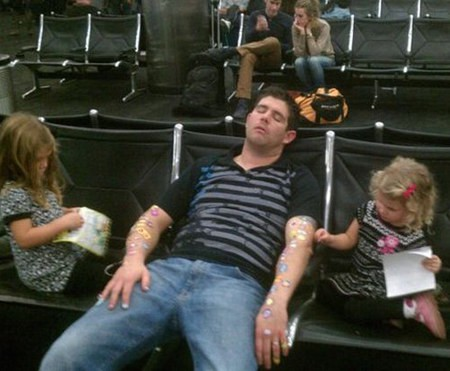 Travelling with kids in reality.