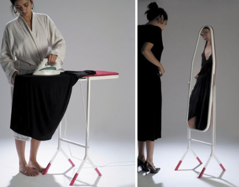 Getting ready is too easy with this ironing board that doubles as a mirror!