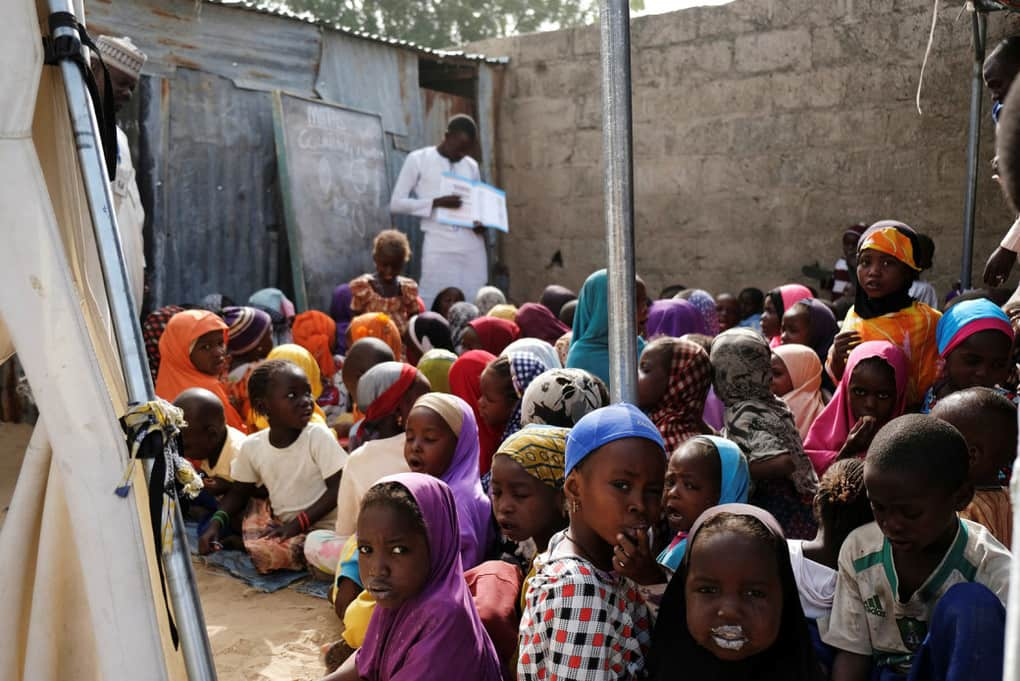 Children attend a class at a makeshift preschool supported by Save the Children in Maiduguri, Nigeria, on Feb. 14.