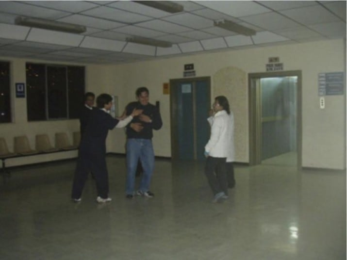 This photo was taken by a doctor in Bolivia. The lift doors opened when the photo was taken, and no one was inside. But when they saw the photo afterwards... fuck, what is that?