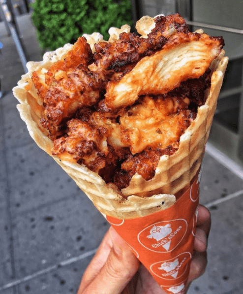 I can get down with fried chicken and waffles, but is the waffle cone really necessary?