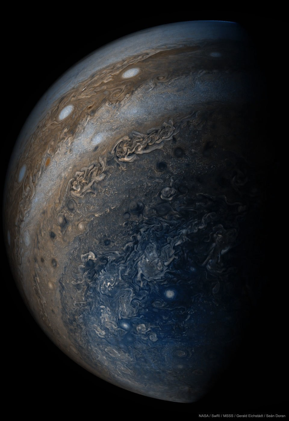 Jupiter, photographed from below by the spaceship Juno, which arrived there this year after a five-year journey. To scientists