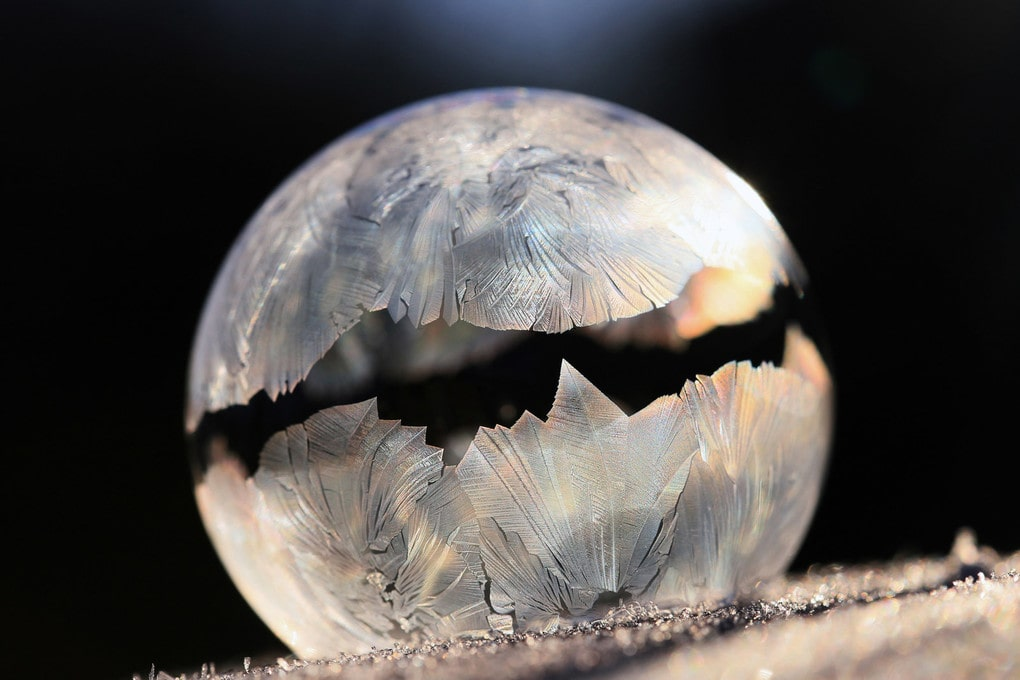 A bubble freezes, and gives the impression of its top half levitating. One of the featured images from the Royal Photographic Society