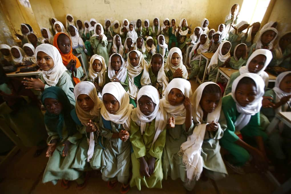 Sudanese girls sit in a classroom at the El-Riyadh camp for internally displaced people in Geneina, Sudan, on Feb. 8.