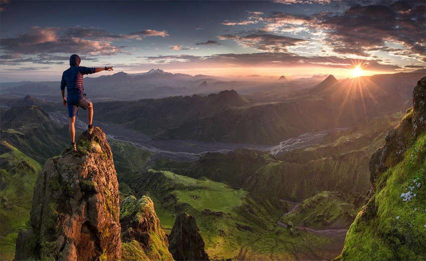 красивый закат исландия
