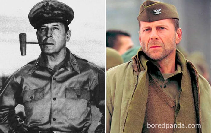 An American Five - Star General And Field Marshal Of The Philippine Army Douglas Macarthur (1880-1964) And Bruce Willis