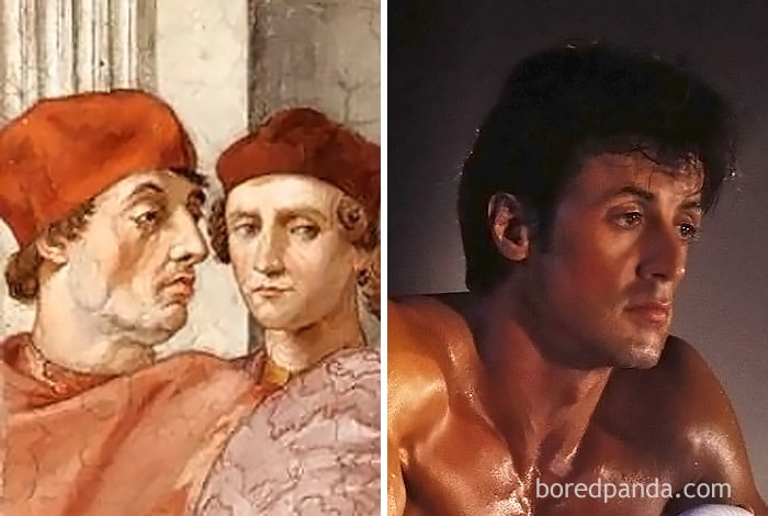 A Man From The Painting Pope Gregory IX Approving The Vatical Decretals And Sylvester Stallone