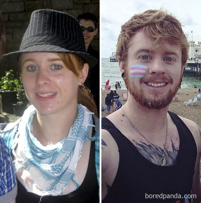 Found A Photo From My First Ever Pride, 8 Years Ago Vs. Me At Trans Pride The Other Day, Changed A Little Bit