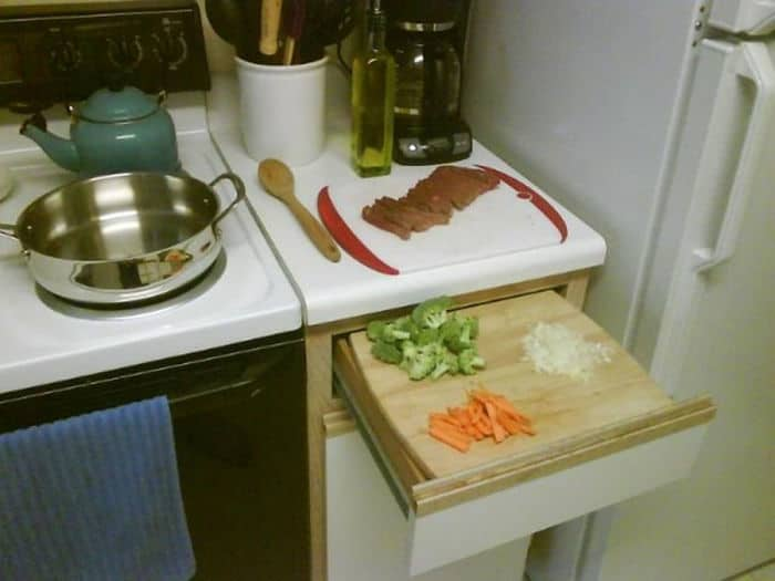 Low On Counter Space? Pull Out A Drawer And Place Your Cutting Board On Top