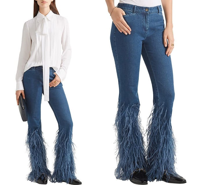 Feather-trimmed Mid-rise Flared Jeans