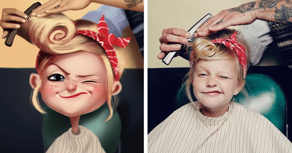 Художник рисует веселые карикатуры с фотографий случайных людей