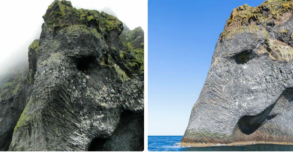Гигантский каменный слон на берегах Исландии