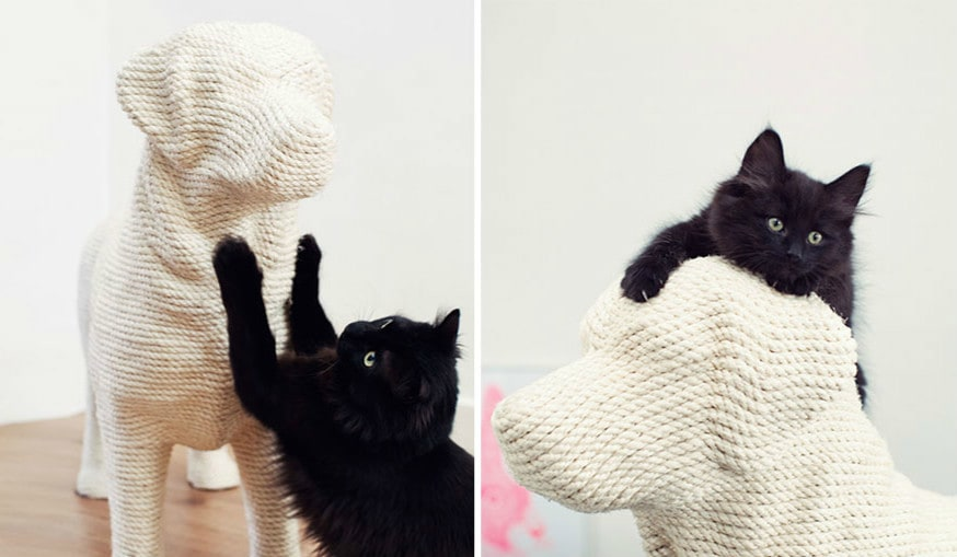 Голландский дизайнер создал когтеточку для кошек в виде собаки