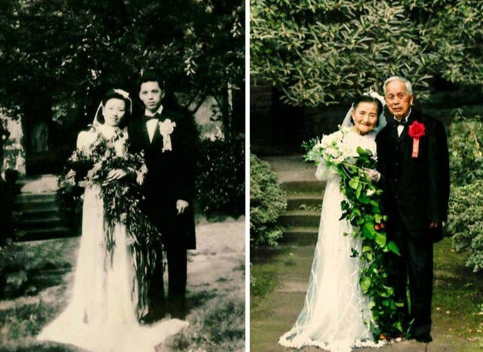 Эта 98-летняя пара воссоздала день своей свадьбы спустя 70 лет