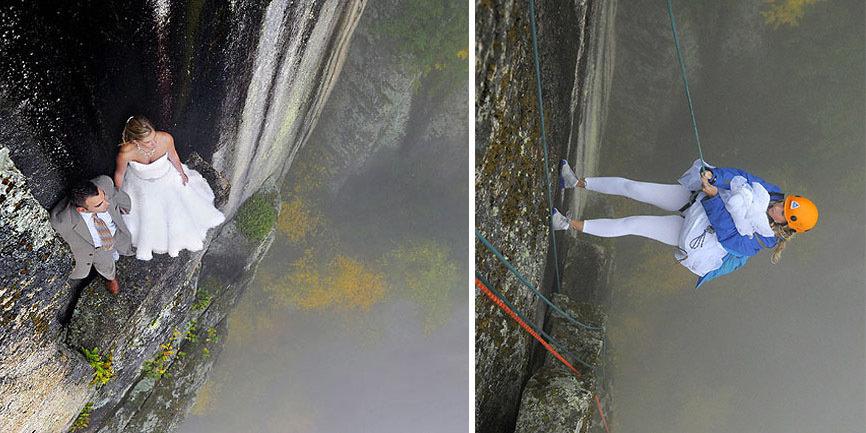Экстремальная фотосессия на крошечном уступе на 100-метровой высоте