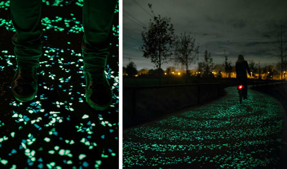 Светящаяся велосипедная дорожка по мотивам картины Ван Гога