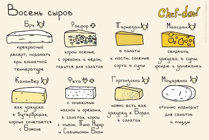 Восемь сортов сыра и варианты его сочетания.
