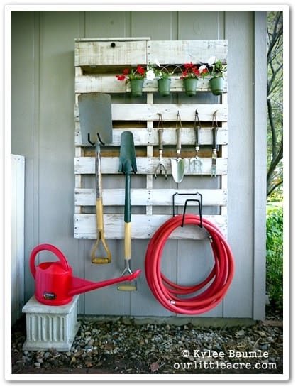 DIY Pallet Gardening Tool Organizer