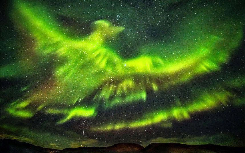 A photographer taking pictures of the aurora borealis has captured what appears to be a huge phoenix rising from the ground and flying over Iceland
