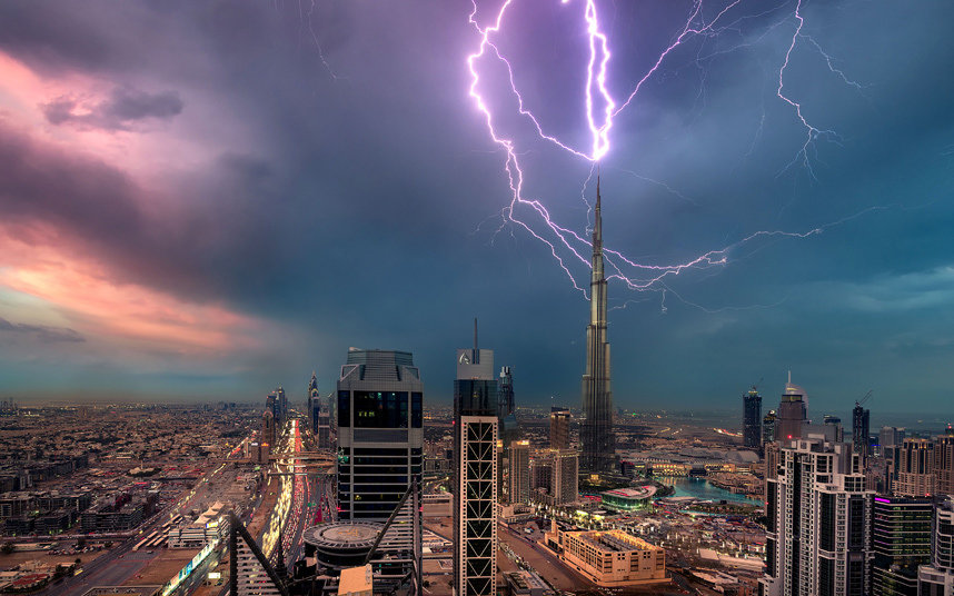 The world's tallest building the Burj Khalifa in Dubai, United Arab Emirates, is hit by a lightning bolt