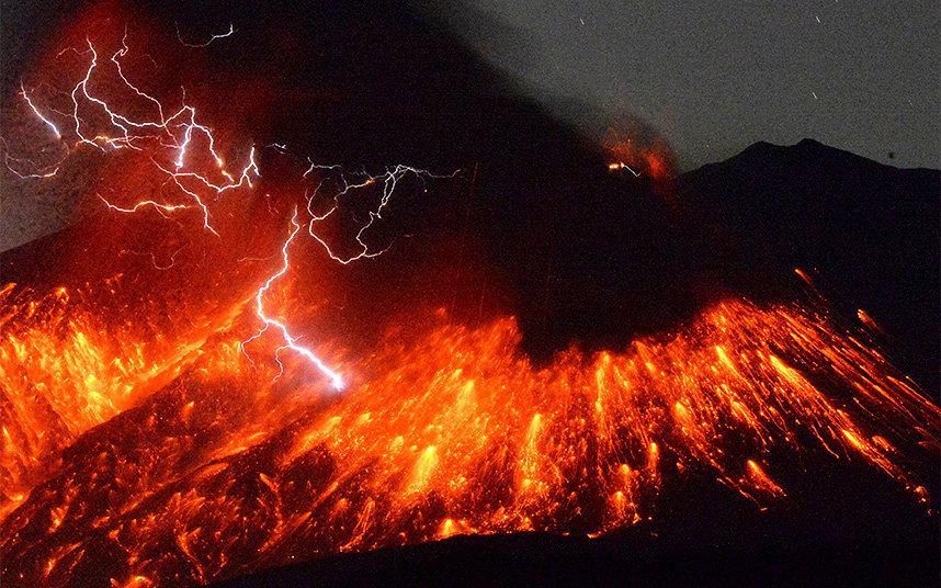 Volcanic lightning is seen at during an eruption at Mount Sakurajima, southwestern Japan