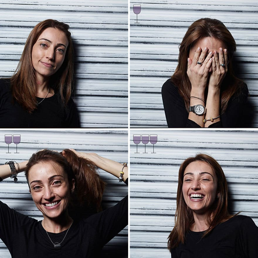 Portraits After One, Two And Three Glasses Of Wine