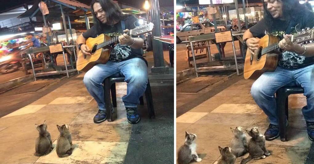 Маленькие фанаты пришли послушать уличного музыканта