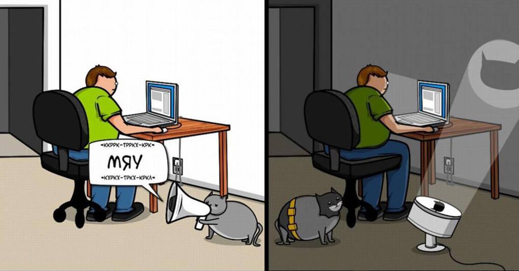 Комикс о том, как коты требуют внимания