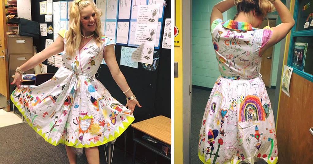 Учительница разрешила первоклашкам разрисовать ее платье