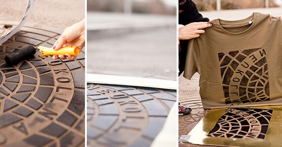 Художники используют канализационные люки для печати на футболках