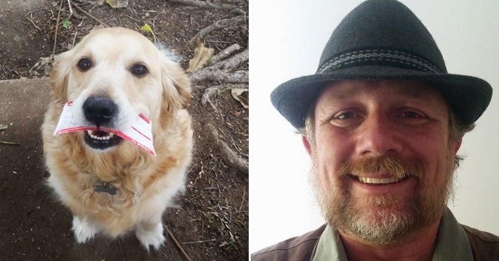 Эта собака так любит получать почту, что почтальону иногда приходится импровизировать