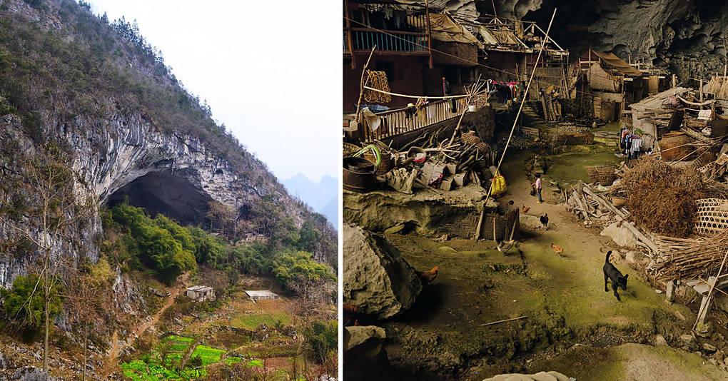 Гигантская пещера в Китае, в которой живет целая деревня