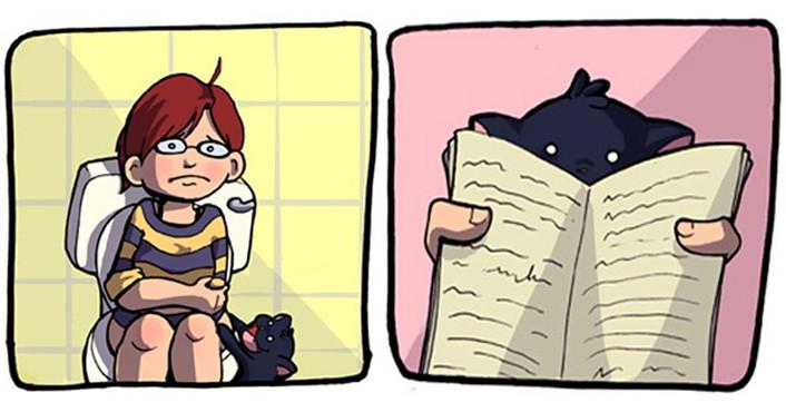 15 комиксов о том, как это — жить с котом