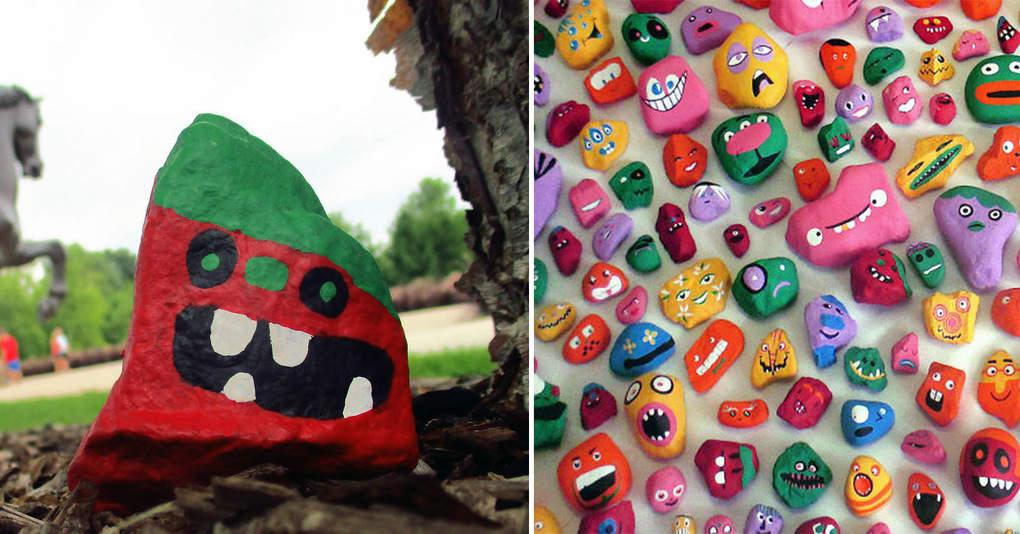 Отец со своими детьми раскрасил около тысячи камней и спрятал их в различных местах города