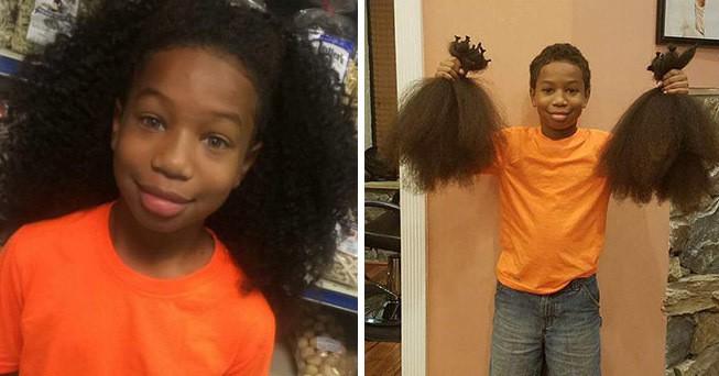 Этот 8-летний мальчик 2 года отращивал волосы, чтобы отдать их детям, больным раком