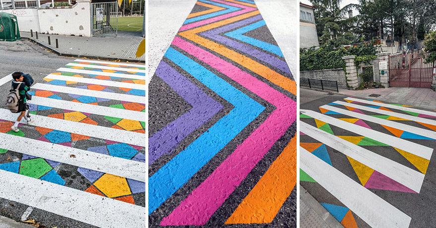 Художник оживил пешеходные переходы яркими красками