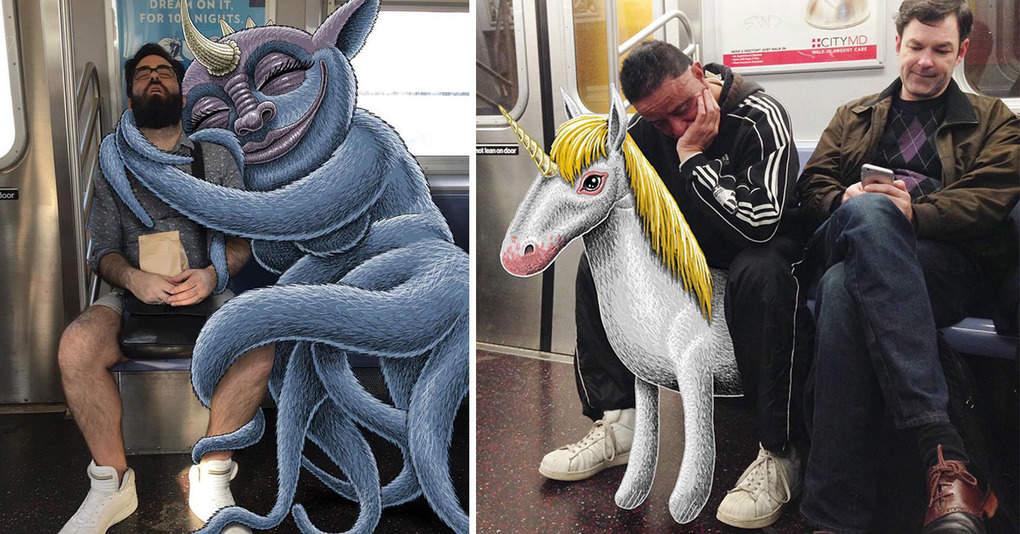 Художник дорисовывает забавных персонажей на фото с незнакомцами в метро