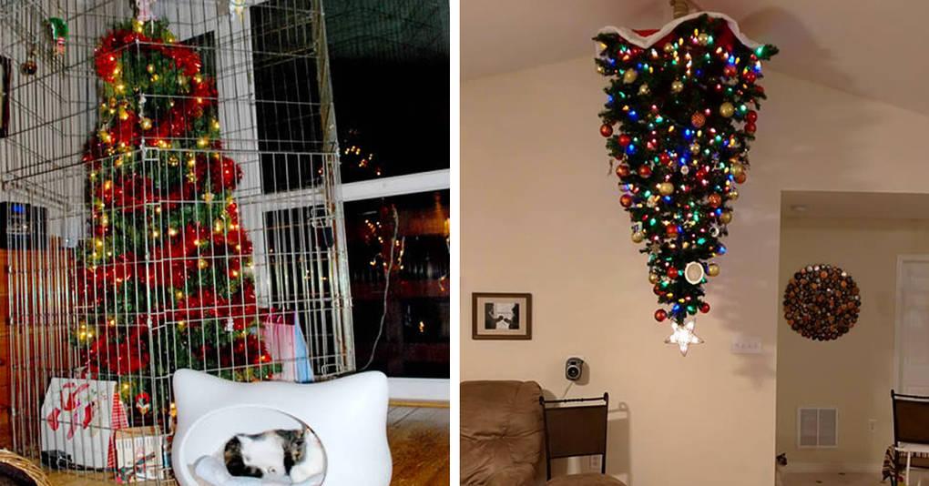 12 новогодних елок, которым не страшны ни кошки, ни дети